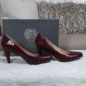 Vince Camuto Red and Black Snakeskin Print Pumps